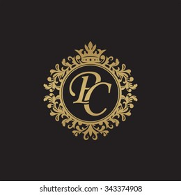 PC initial luxury ornament monogram logo