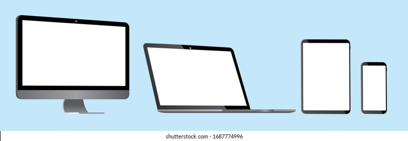 pc laptop smartphone vector illustration