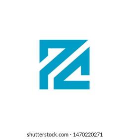 PC Letter Based Logo Icon. Blue Color Design. Monogram Square Alphabet. Vector Illustration