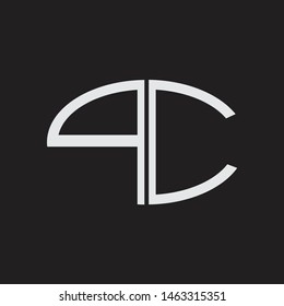 PC Logo letter oval monogram design template with black and white colors