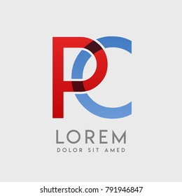 """PC logo letters with """"blue and red"""" gradation"""