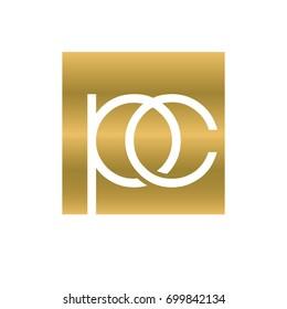 PC logotype luxury. gold company logo
