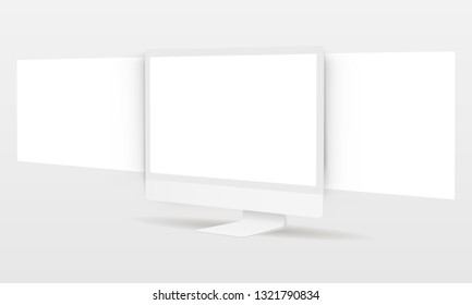 PC monitor with blank framework web pages. Mockup for responsive web-design or showing screenshots. Vector illustration