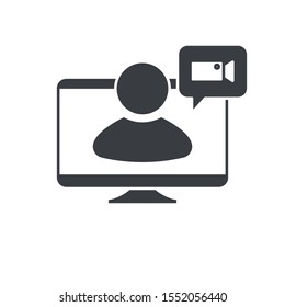 PC monitor. Video calling, video communication icon