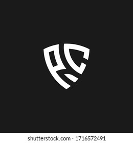 PC monogram logo with shield shape design template