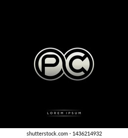 PC P C initial letter linked circle capital monogram logo modern template silver color edition