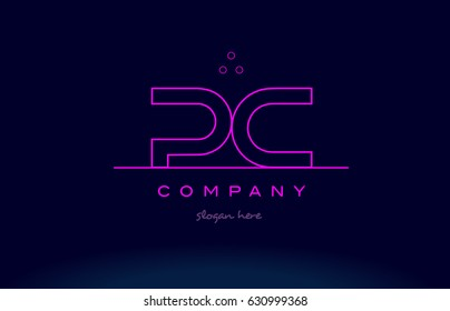 pc p c letter alphabet text pink purple dots contour line creative company logo vector icon design template