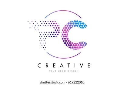 PC P C Pink Magenta Dotted Bubble Letter Logo Design. Dots Lettering Vector Illustration
