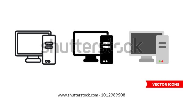 Pc Personal Computer Icon 3 Types Stock Vector (Royalty Free