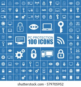 PC Protection, Safety, Secure, Firewall and Privacy Vector Flat Icons.