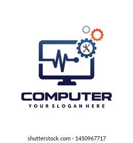 PC, Pulse computer, Computer repair, Computer services logo vector