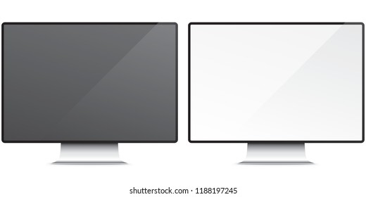 PC screen isolated on background. Black and white glossy monitors vector illustration. Modern and sleek display.