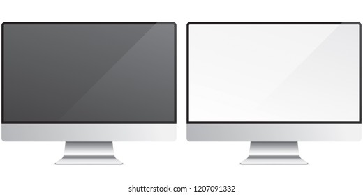 PC screen isolated on background. Black and white glossy monitors, vector illustration. Set of modern and sleek display.