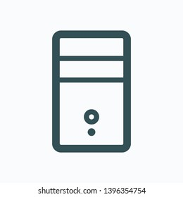 PC system unit isolated icon, PC computer outline vector icon