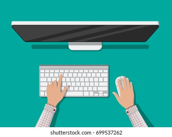 PC top view. Hands of user. Modern desktop computer with keyboard and mouse. Personal computer screen top view. Wireless input devices. Vector illustration in flat style