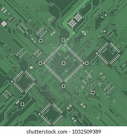 (PCB) Printed Circuit Boad top view. Green color. Engineering modern background wothout electronic components.