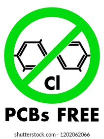 PCBs free icon. Polychlorinated biphenyls chemical molecule and letters Cl (chemical symbol for Chlorine) in green crossed circle, with text under.