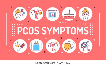 PCOS symptoms word lettering typography. Female reproductive system disease. Infographics with linear icons on red background. Isolated outline color illustration