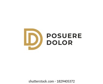 PD or DP. Monogram of Two letters P&D or D&P. Luxury, simple, minimal and elegant PD, DP logo design. Vector illustration template.