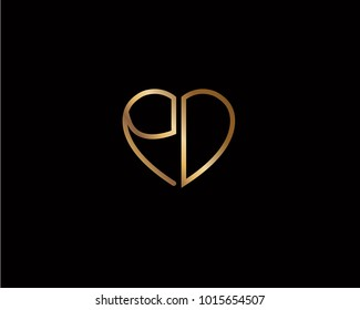 PD initial heart shape gold colored logo