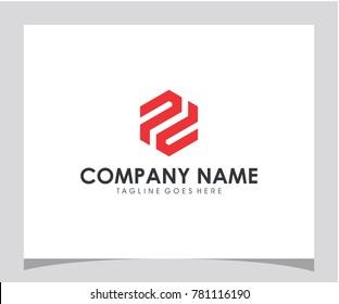 PD initial hexagon icon letter logo design eps 10