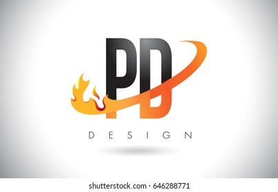 PD P D Letter Logo Design with Fire Flames and Orange Swoosh Vector Illustration.