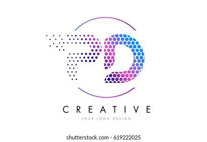 PD P D Pink Magenta Dotted Bubble Letter Logo Design. Dots Lettering Vector Illustration