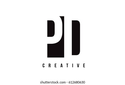 PD P D White Letter Logo Design with Black Square Vector Illustration Template.