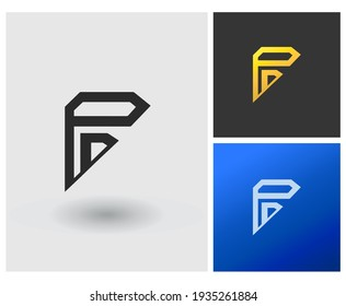 PD PP initial based Logo Design in Gradient Colors. Creative Modern company logo. furniture table shape with Letters Vector Icon Logo idea Illustration.