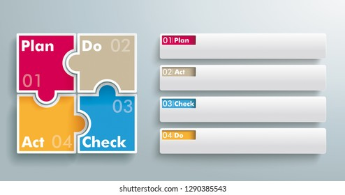 PDCA concept infographic with puzzle pieces and banners. Eps 10 vector file.