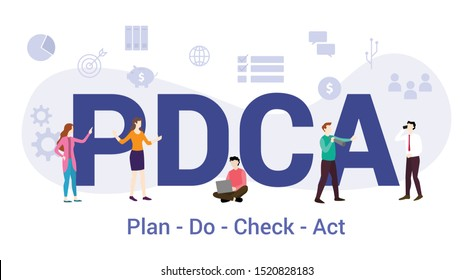 pdca plan do check act concept with big word or text and team people with modern flat style - vector