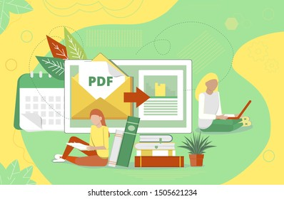 PDF converter concept with tiny people. Screen with changing or converting process of document to another format. Flat vector illustration for app, website, banner, landing page.