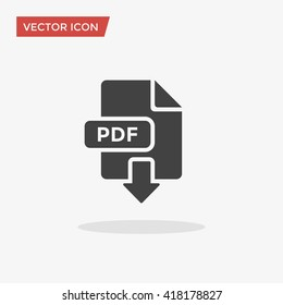 Pdf document Icon in trendy flat style isolated on grey background. Download, save symbol for your web site design, logo, app, UI. Vector illustration, EPS10.