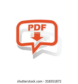 PDF download message sticker, orange chat bubble with image inside, on white background