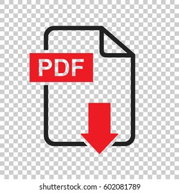 PDF download vector icon. Simple flat pictogram for business, marketing, internet concept. Vector illustration on isolated background.