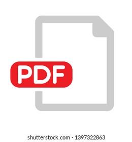 PDF file document icon. Download pdf button. PDF file extension symbol. Copy files, PDF web icon. Vector