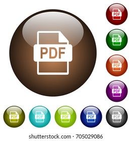 PDF file format white icons on round color glass buttons