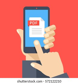PDF file on smartphone screen. Hand holds smartphone, finger touches screen. Read, download, view PDF on phone, mobile device. Modern graphic for web banners, website. Flat design vector illustration.