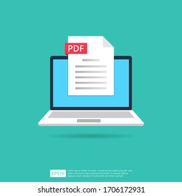 PDF files icon on laptop screen concept. Format extension of document symbol vector illustration