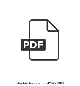 PDF icon black color editable. PDF symbol Flat vector sign isolated on white background. Simple vector illustration for graphic and web design.