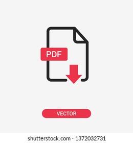PDF icon. Download PDF line icon. Isolated. Vector
