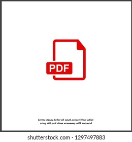 PDF icon. Downloads pdf document. Vector colored icon on white isolated background. Layers grouped for easy editing illustration. For your design.