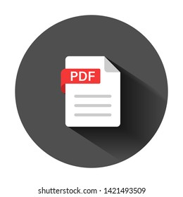 Pdf icon in flat style. Document text vector illustration on black round background with long shadow. Archive business concept.
