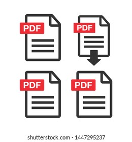 PDF Icon paper file. File Icons. Document icon set