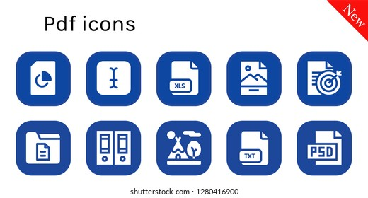 pdf icon set. 10 filled pdf icons. Simple modern icons about  - Document, Typing, Xls, Jpg, Documentation, Tipi, Txt, Psd