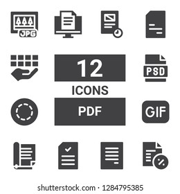 pdf icon set. Collection of 12 filled pdf icons included Document, Gif, Psd, Doc, Jpg