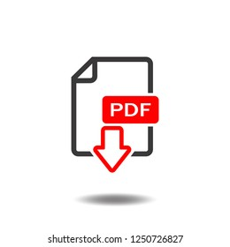 PDF icon vector text document file download flat sign symbols logo illustration isolated on white background black and red color.Concepts objects for web app mobile phone.
