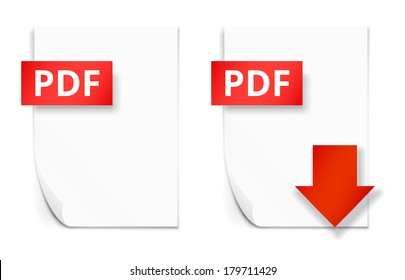 PDF icons, empty paper sheet and download button, vector illustration