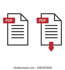 PDF icons, stack of paper sheets and download button, vector illustration isolated on white background.Eps 10.