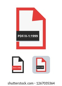 pdf/x-1:1999 file flat vector icon. Symbol of PDF/X-1 – the first ISO standard for blind exchange of PDF in CMYK between graphic designer and printing plant or printing house isolated on white